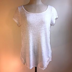 White Lace Side Cut Out Tee